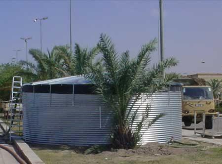 Galvanised tank with steel roof