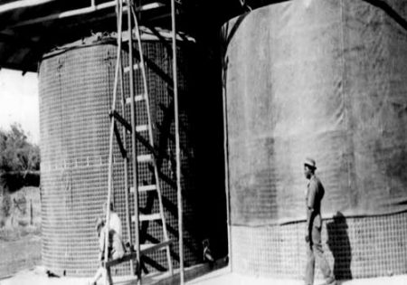 Early grain silo lining project, Kenya, 1969